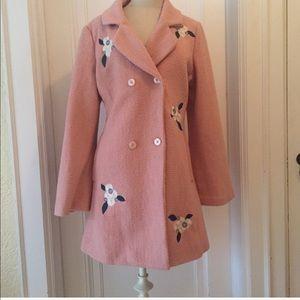 NWOT Lauren Conrad pink embroidered coat